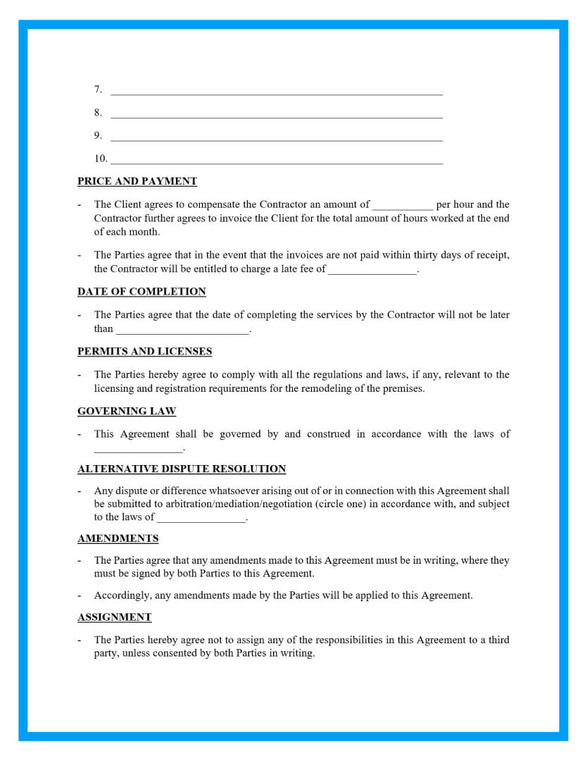 remodeling contract template page 2