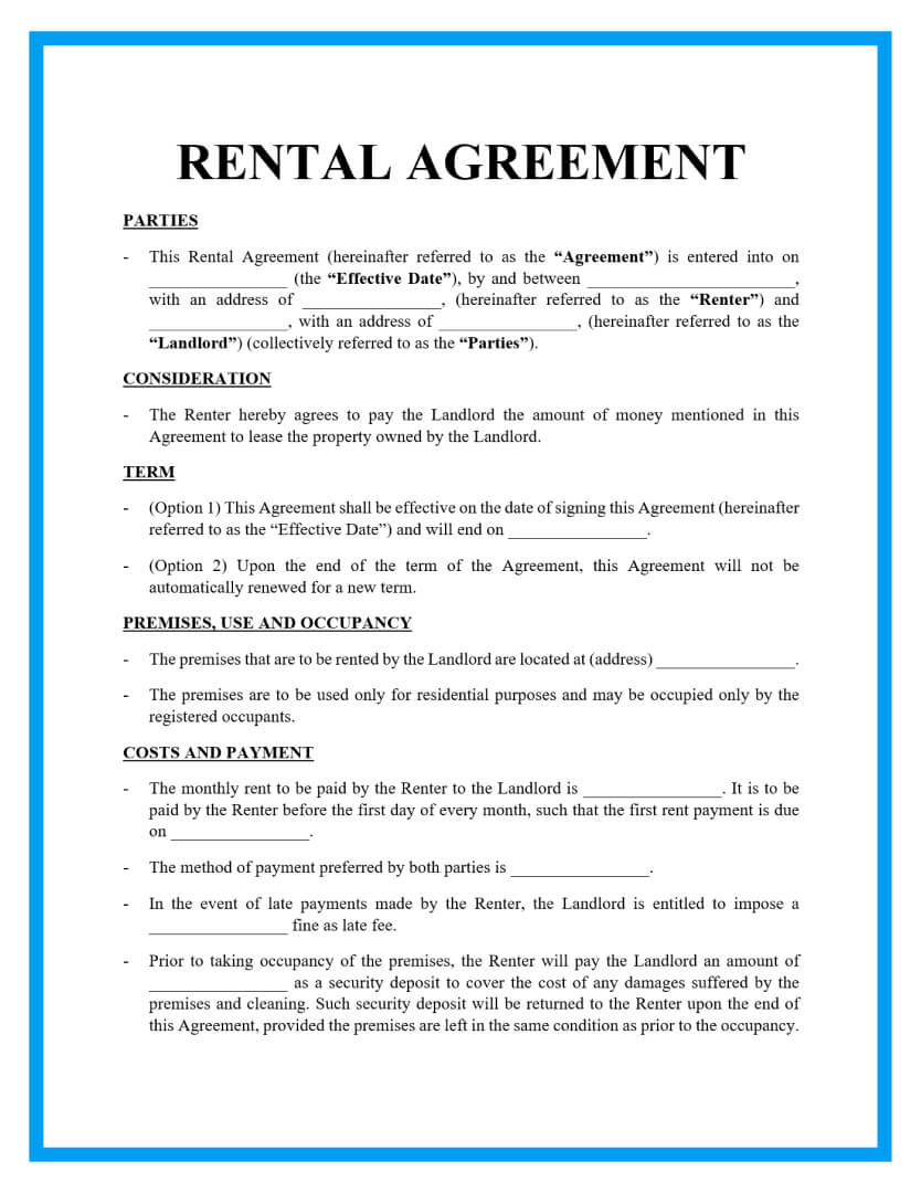 rental agreement template page 1