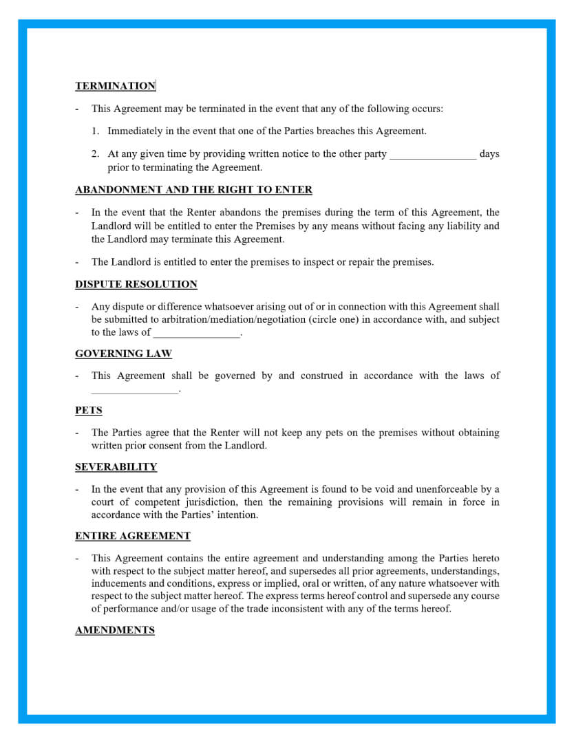 rental agreement template page 2