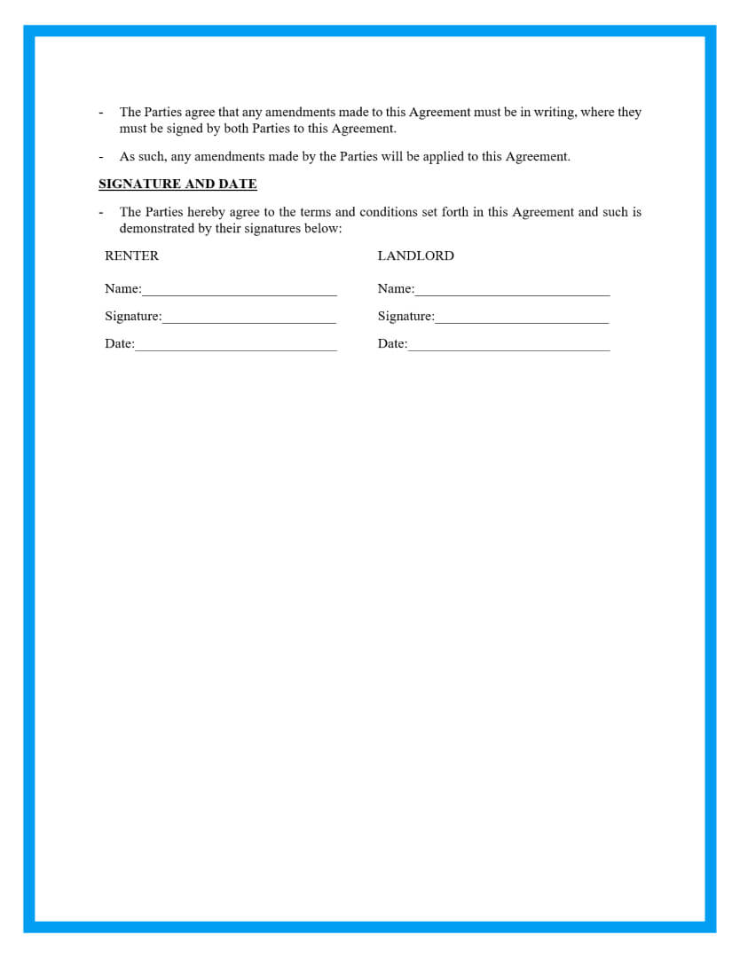 rental agreement template page 3
