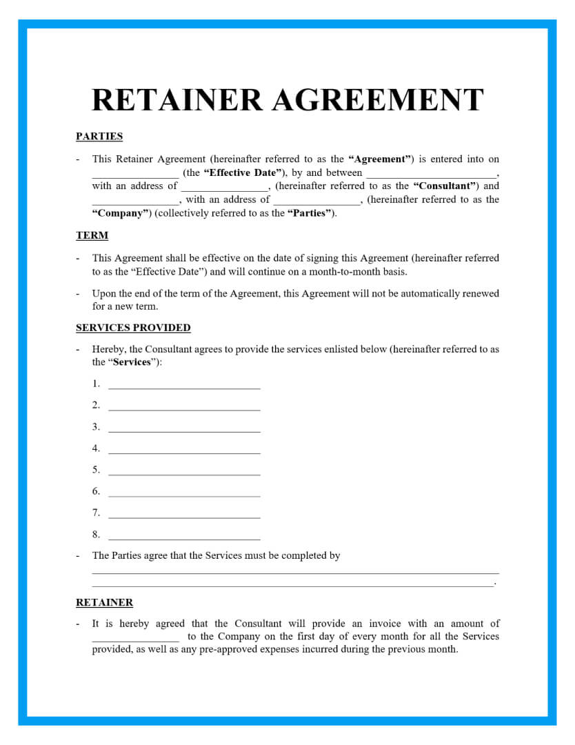 retainer agreement template page 1