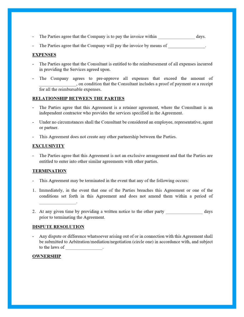 retainer agreement template page 2