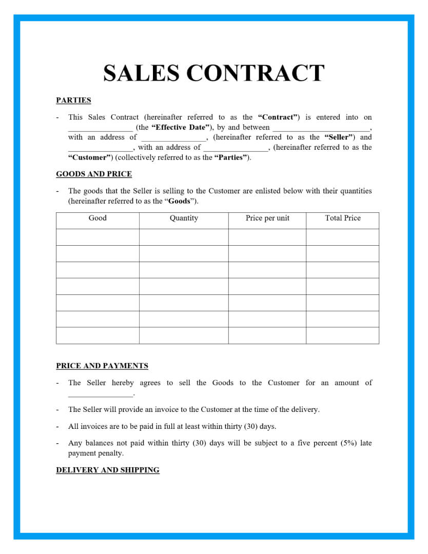 sales contract template page 1