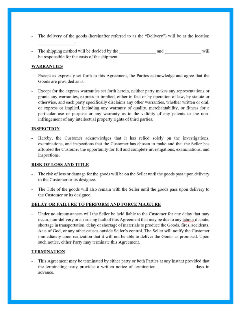 sales contract template page 2