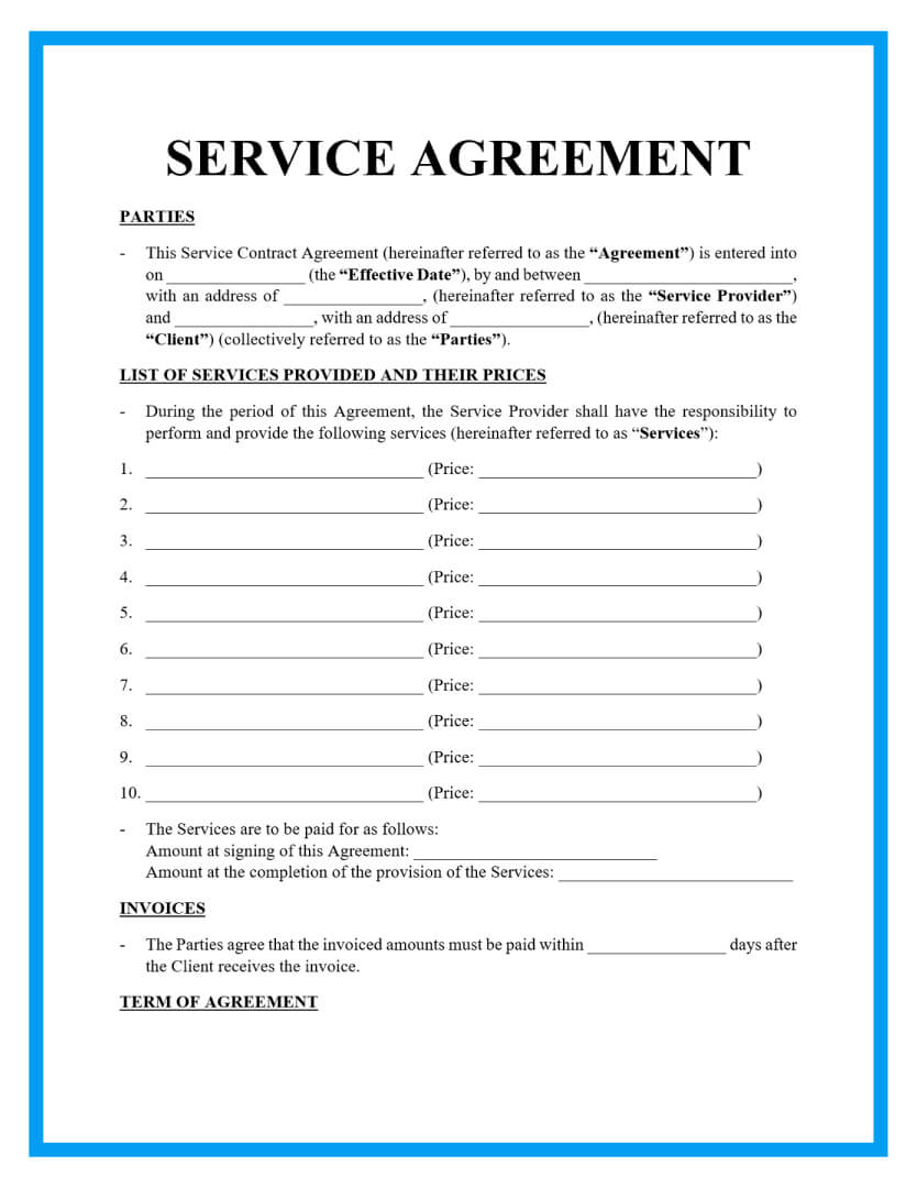 service agreement template page 1