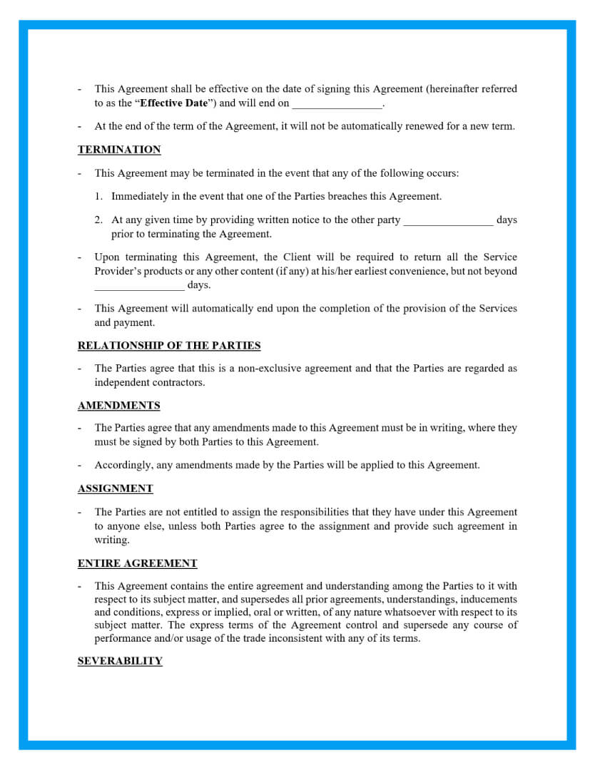 service agreement template page 2