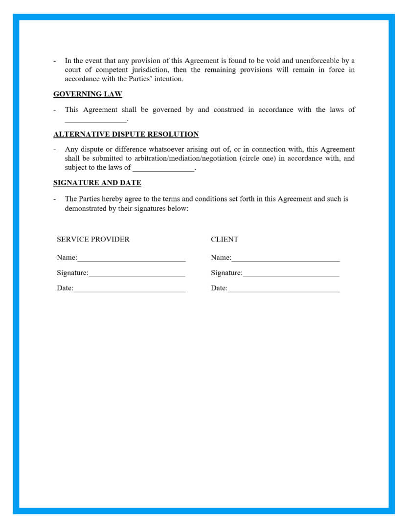 service agreement template page 3