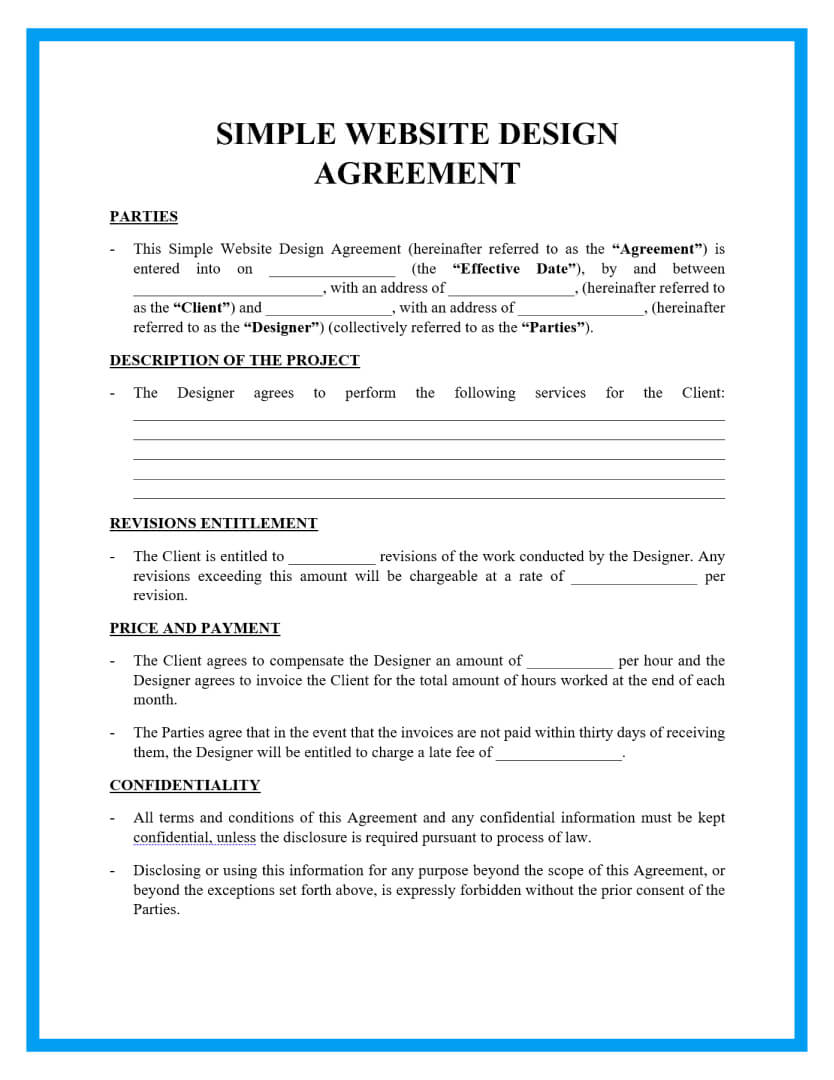 simple website design agreement template page 1