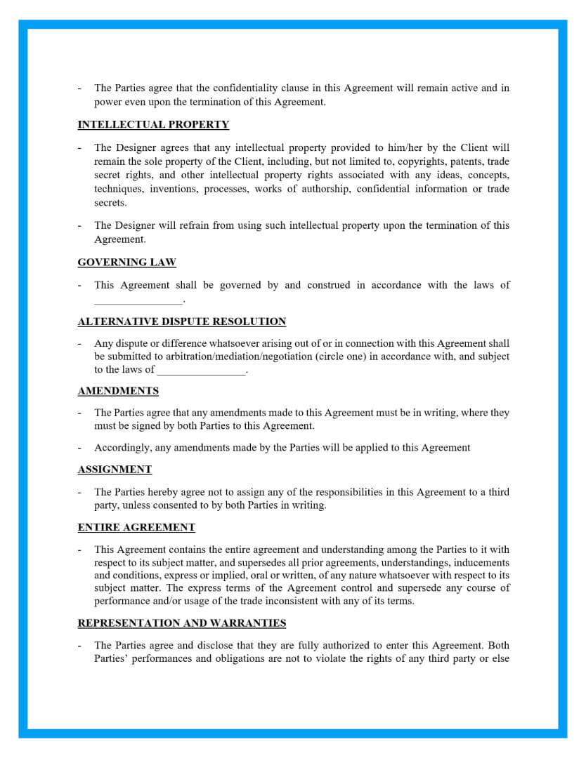 simple website design agreement template page 2