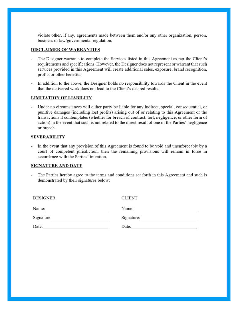 simple website design agreement template page 3