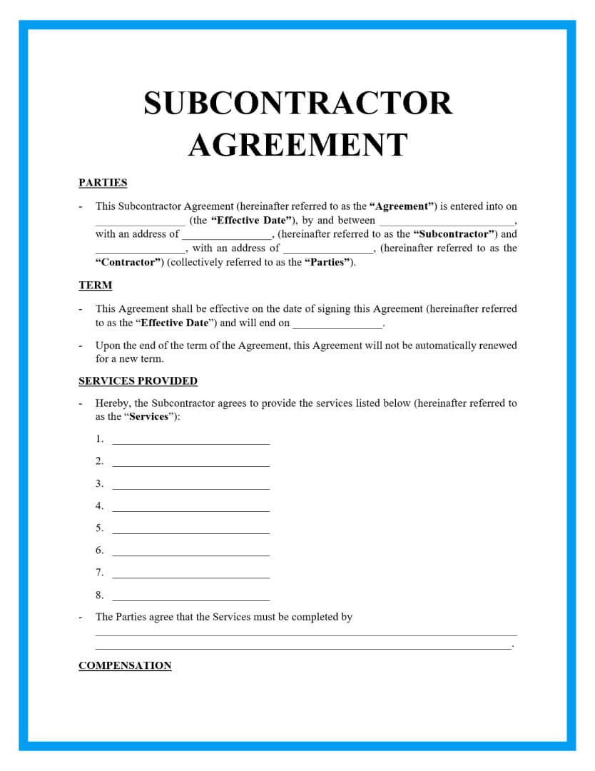 subcontractor agreement template page 1