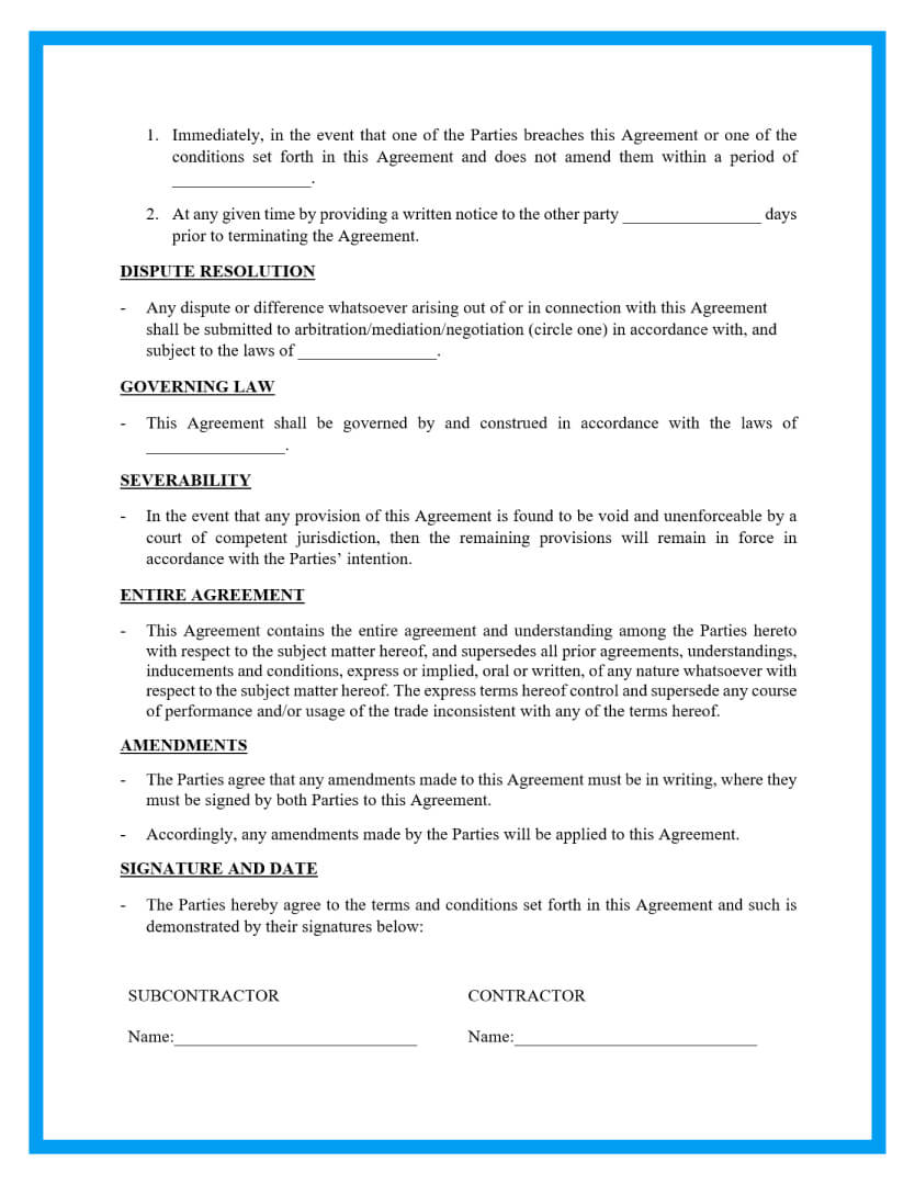 subcontractor agreement template page 3