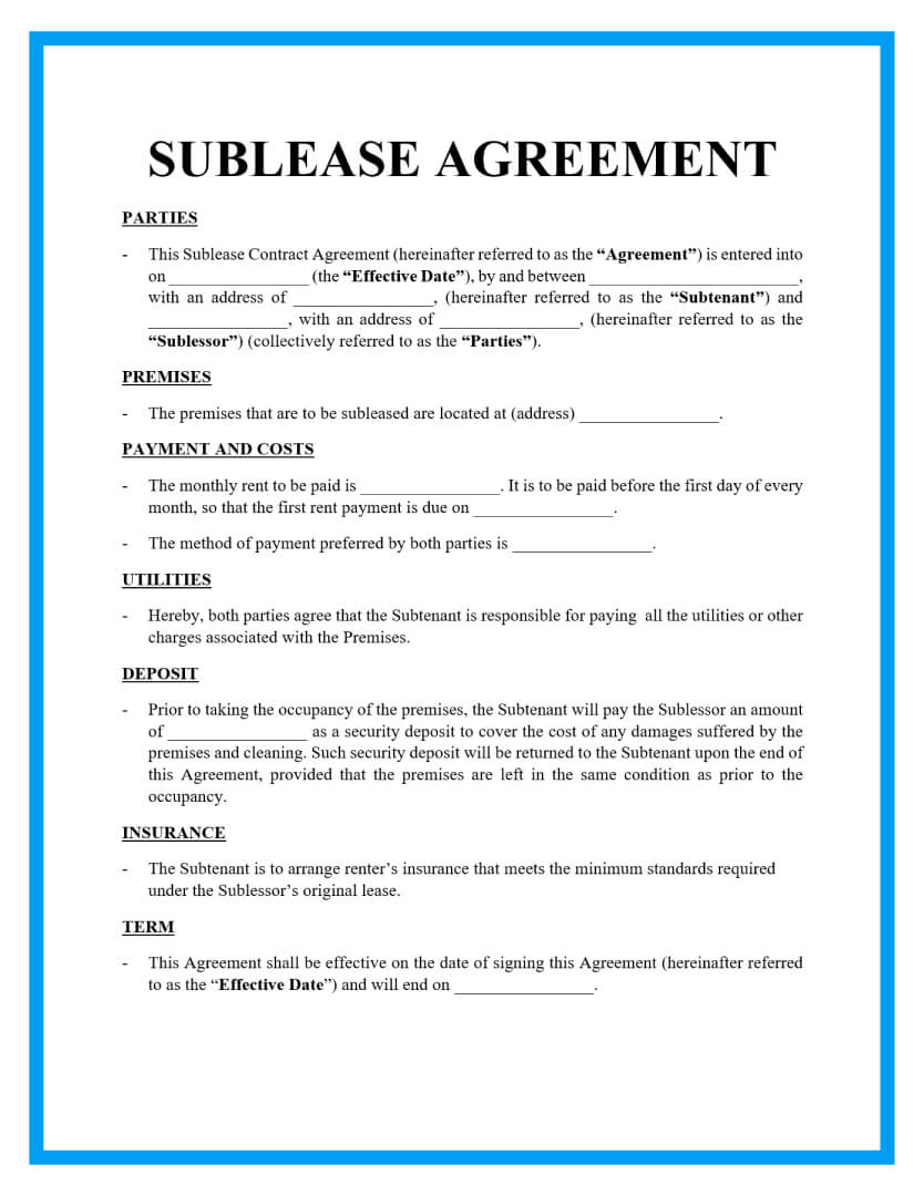 sublease agreement template page 1