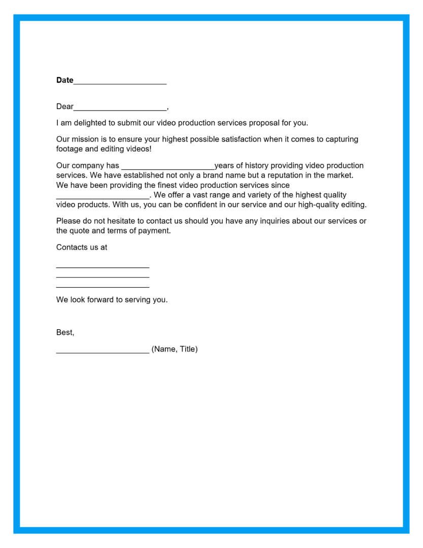 video production proposal template page 2