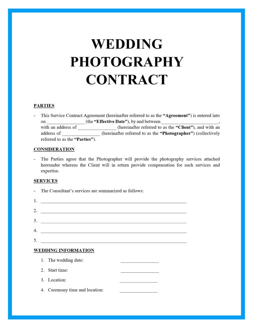 wedding photography contract template page 1