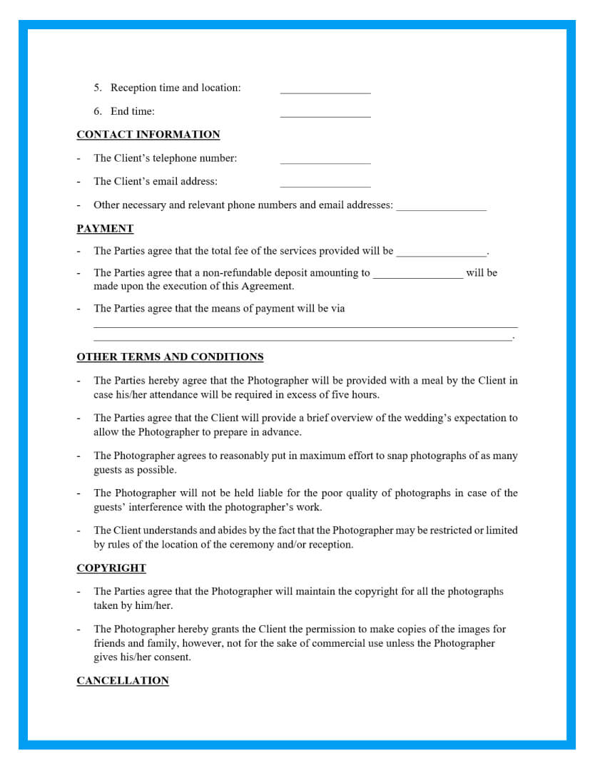 wedding photography contract template page 2