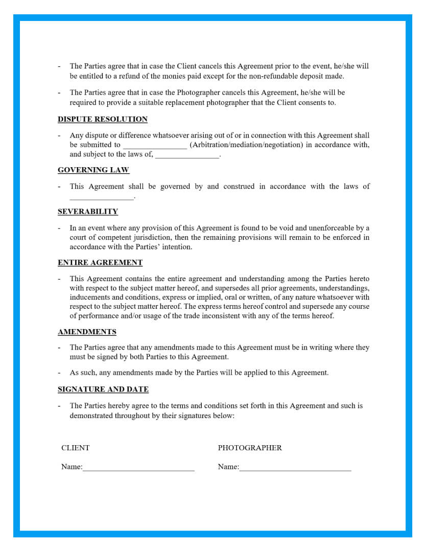 wedding photography contract template page 3