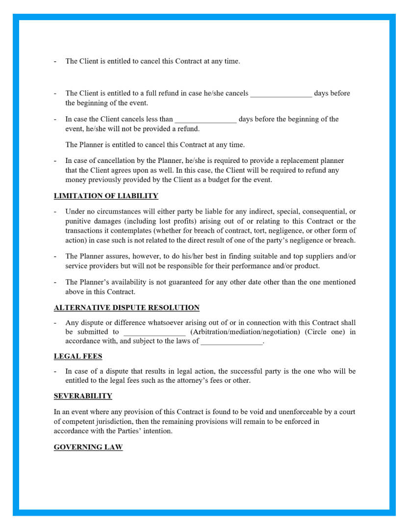 wedding planner contract template page 2