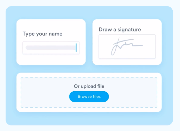 With Signaturely's online signature maker, you can create your own signature by drawing it, typing it, or uploading an existing one.