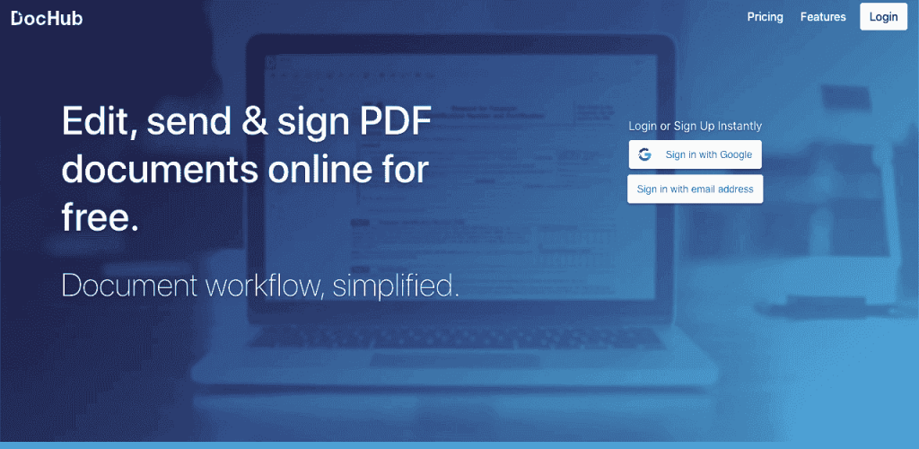 DocHub lets you quickly import PDF documents to add signature fields.