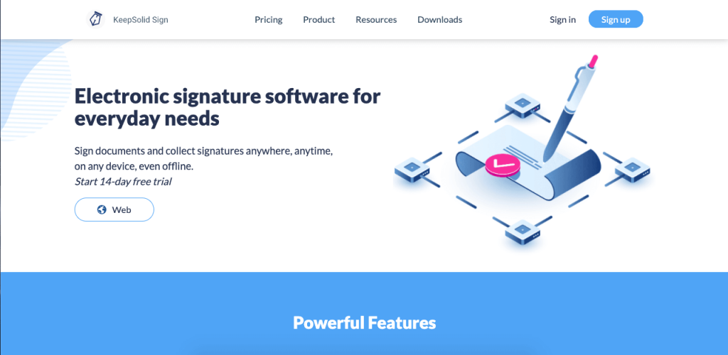 KeepSolid Sign focuses on high-security digital signatures and documents.