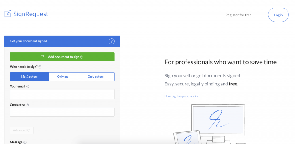 SignRequest has a generous free personal plan and great integrations for businesses.