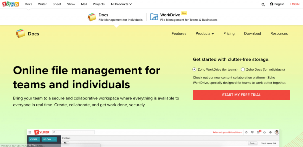 Zoho Docs is part of the Zoho platform, which integrates perfectly with its CRM.