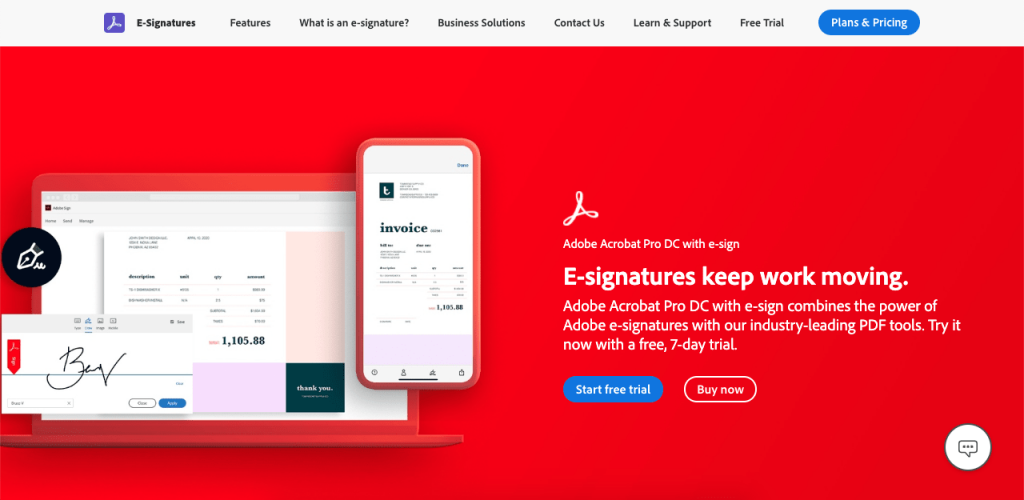 Made by Adobe, Adobe Sign is a paid e-signature option to get legally binding signatures online.