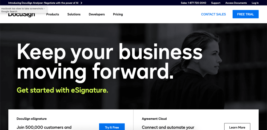 DocuSign is a popular online signature platform for large companies.