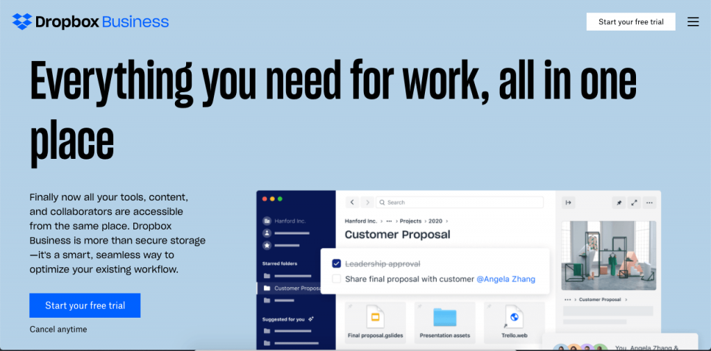 Dropbox's professional option allows for powerful, business-focused file sharing.