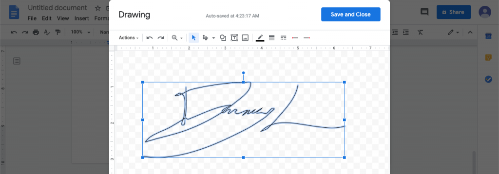 You can change the line's thickness or color, to further customize your Google Doc signature.