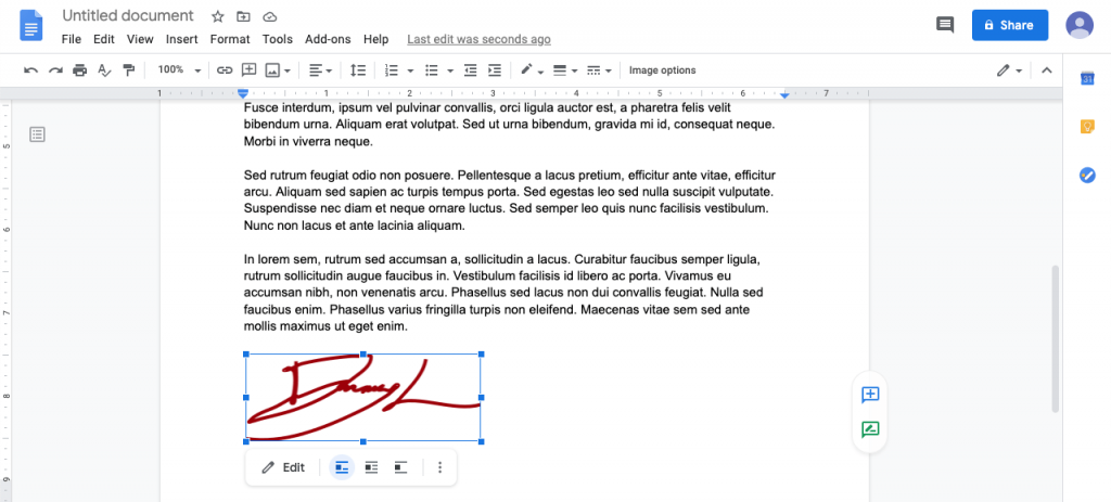 Fit in your signature into your google Doc.