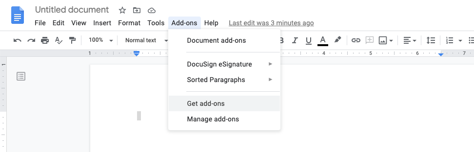 Open the Add-on menu, where you can install new add-ons for your Google Docs.
