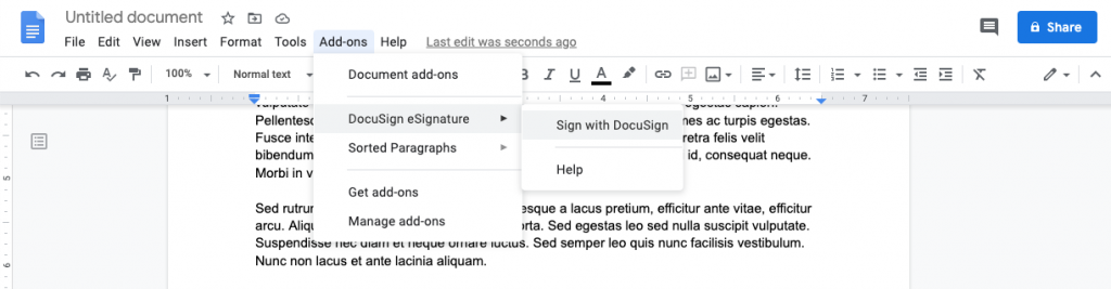 Click on Add-ons to find your new add-on to sign your google doc.