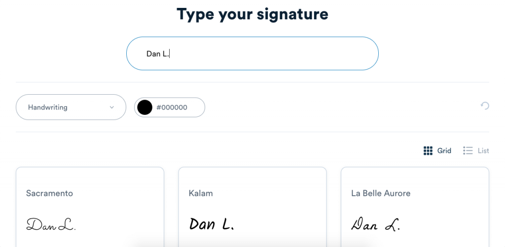 Generate your online signature by typing your name and selecting your font.