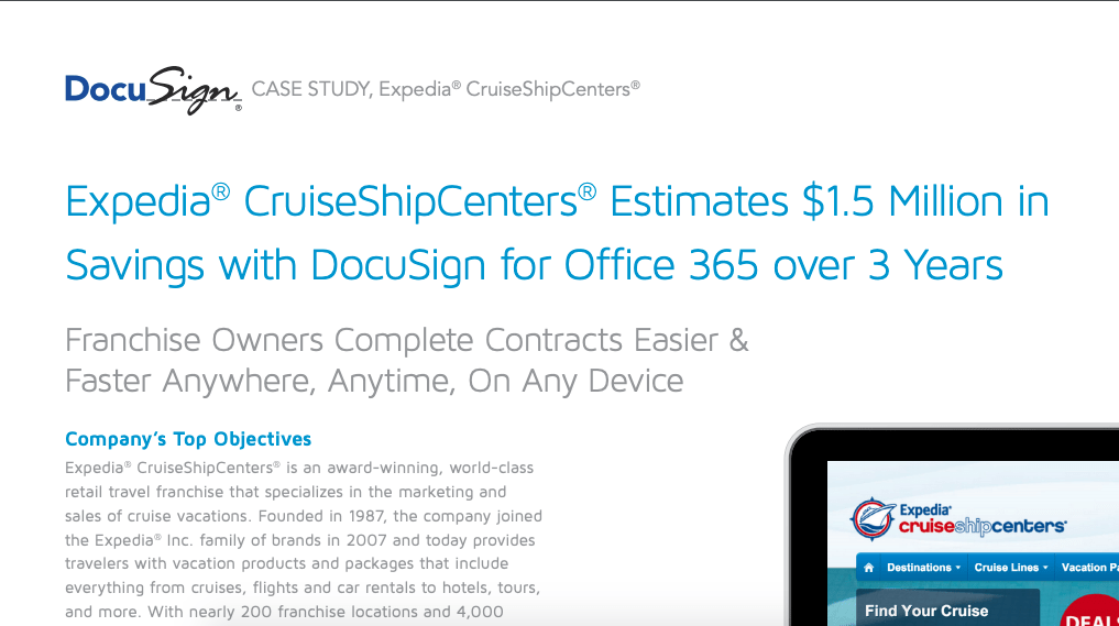 If case studies are important to you, you'll be more likely to find one similar to your situation with DocuSign.