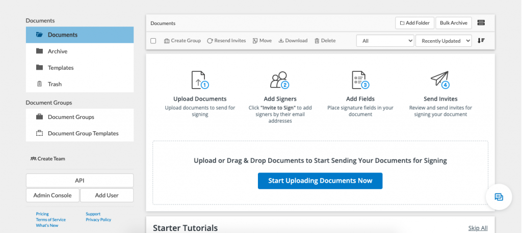 Both DocuSign and SignNow are easy to use. The difference lies in how you start using them to develop those documents.