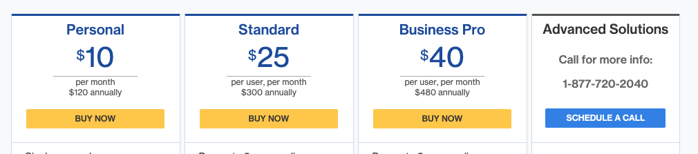 DocuSign pricing starts with its Personal plan at $10 per month, which includes limited customization and up to 5 documents signed per month.