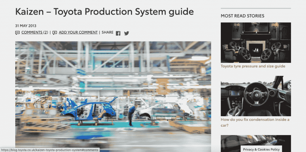 Although Toyota doesn't just rely on Kaizen as a philosophy, it is probably the easiest and most global one, making it a solution every company can learn from.