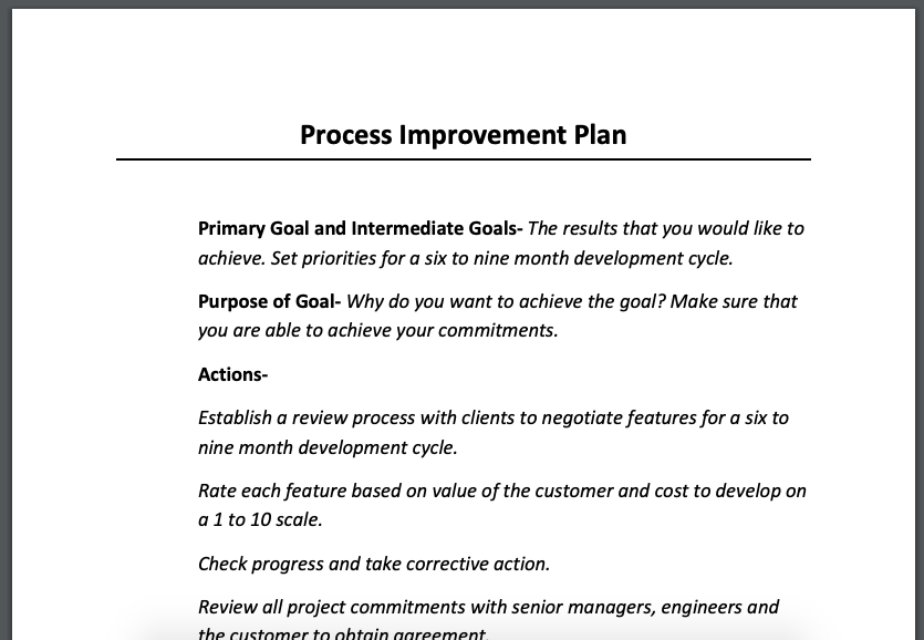 If you want a simple template to get your process improvement started, AtYourBusiness gives you this Process Improvement Plan