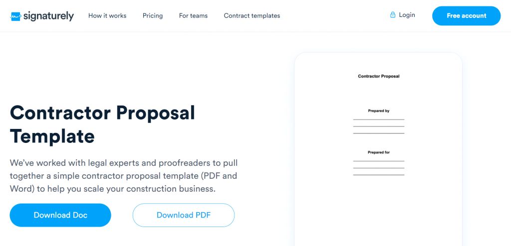 Signaturely offers an awesome free Contractor Proposal template that makes it easy to apply for construction contracts.