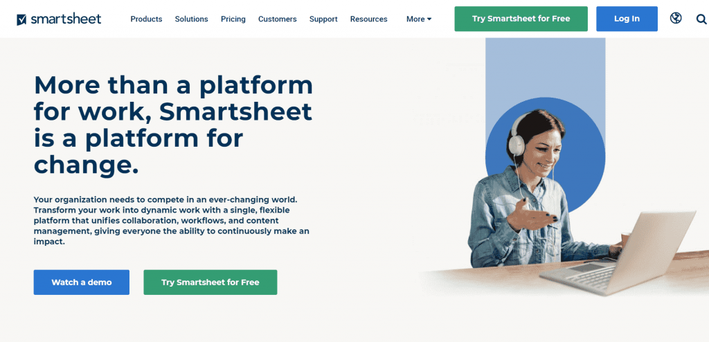 Smartsheet is a work management and collaboration platform that helps teams assign, track, and manage various workflows.