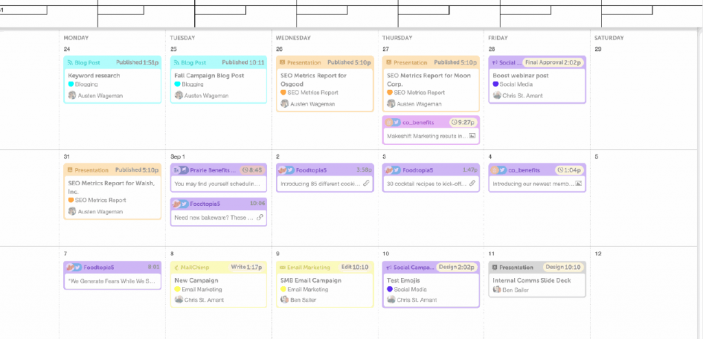 A content calendar helps your team know which content will be published when