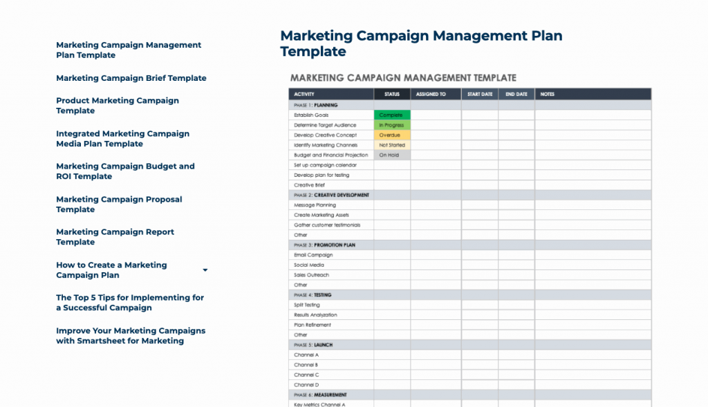 Marketing campaign documents lay down everything there is to know about a specific campaign.