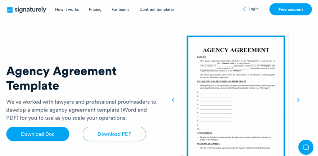 An agency agreement allows one person (the agent) to act on another person's behalf (the principal)