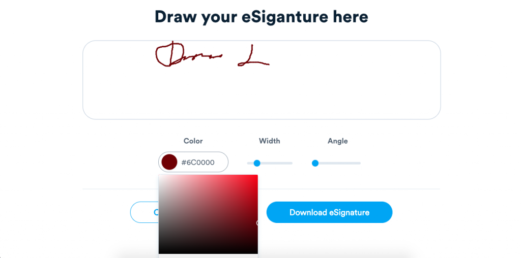 Signaturely allows you to draw your signature, and change its like thickness and its color to make it unique.