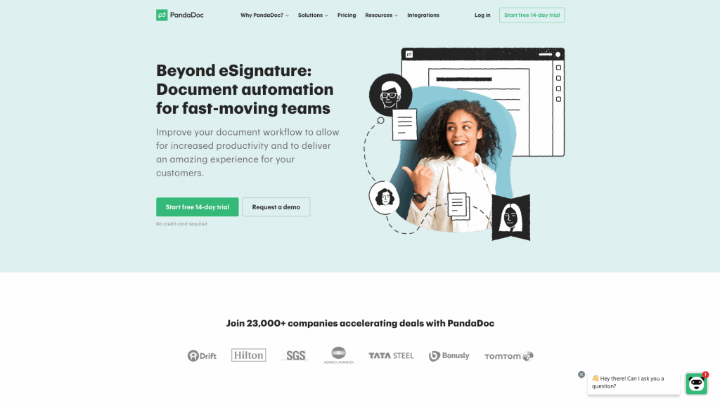 PandaDoc allows users to build and send proposals, quotes, invoices, and other online documents