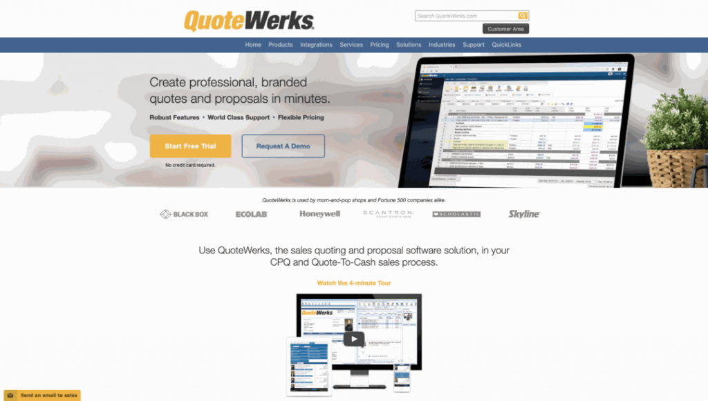 QuoteWerks allows users to create proposals, orders, and invoices and to import them as a PDF to get approved.