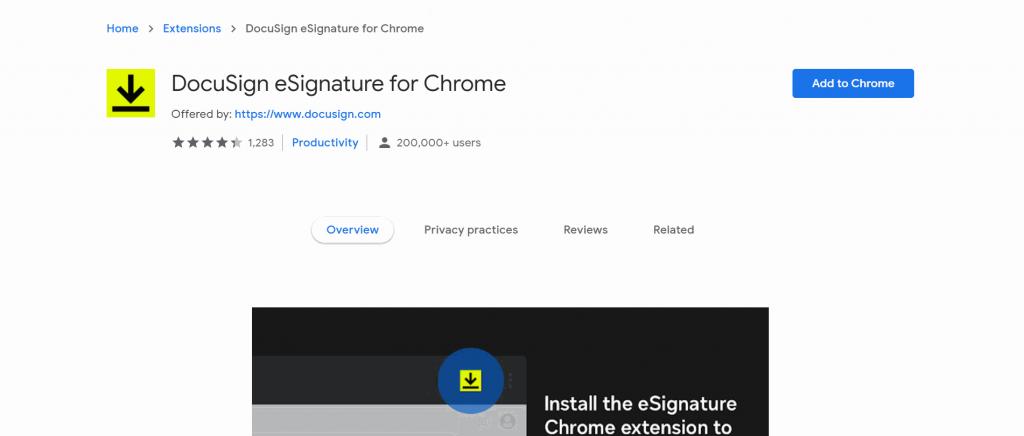 DocuSign's electronic signature Google Chrome plugin