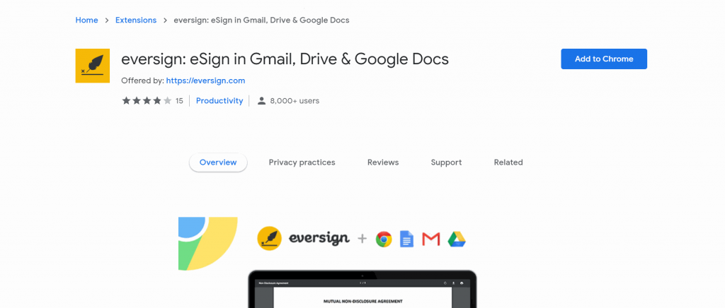 Eversign's electronic signature Google Chrome plugin